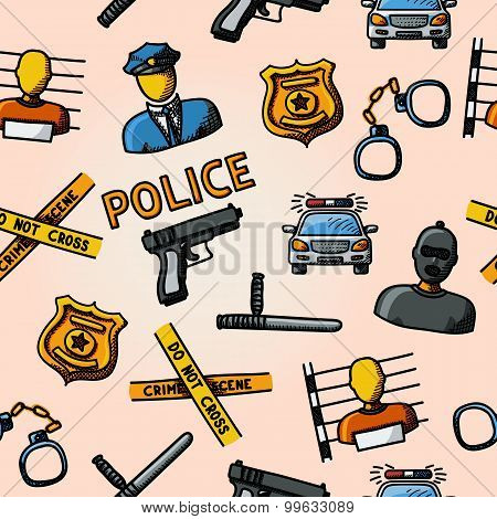 Color hand drawn police pattern - gun, car, crime scene tape, badge, policemen, thief, thief in jail