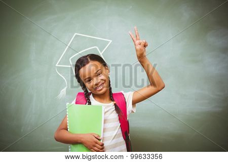 Graduation hat vector against portrait of cute little girl holding book