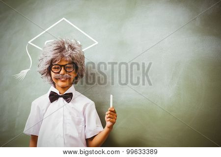 Graduation hat vector against boy dressed as senior teacher in front of blackboard