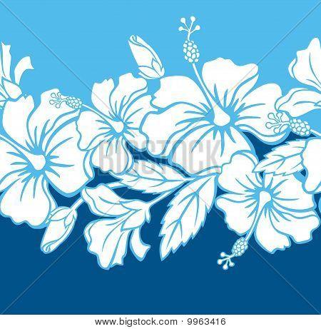 Seamless Hibiscus Hybrid Border/Pattern