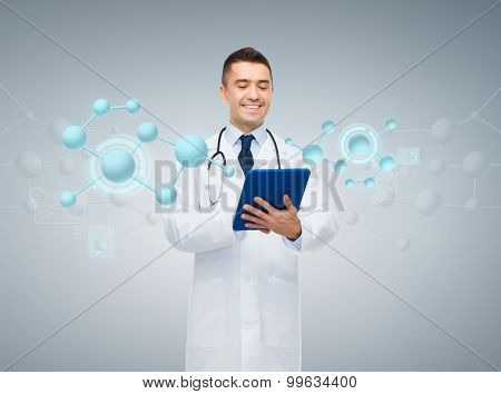 healthcare, biology, technology, people and medicine concept - smiling male doctor in white coat with tablet pc computer and molecule structure over gray background