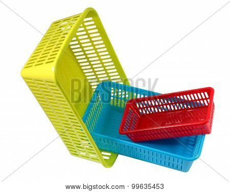 Household Storage System, Set Colored Plastic Baskets Of Various Sizes.
