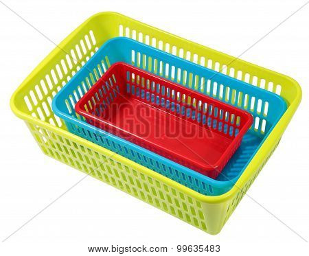 Stacked Different Size Colorful Perforated Plastic Containers, Storage Systems For Domestic