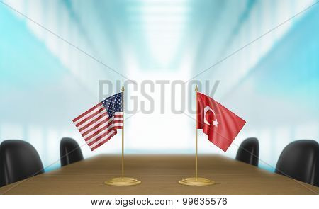 United States and Turkey relations and trade deal talks 3D rendering