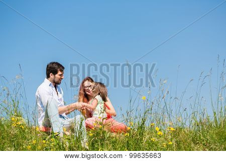 Family holding hands in summer in the grass