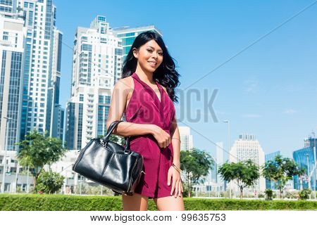 Tourist woman on city vacation in Dubai