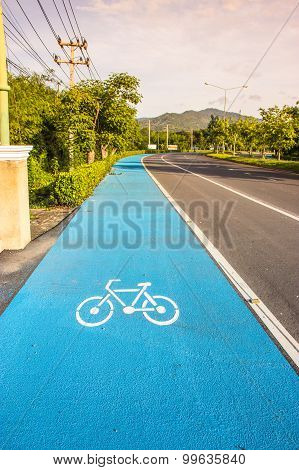 Bicycle Symbol Lane  On The Road