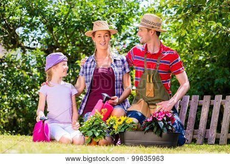 Family gardening in garden