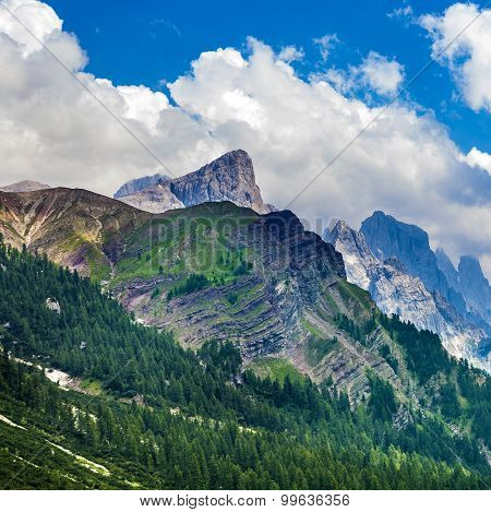 Scenic Landscape In The Dolomites At Rolle Pass