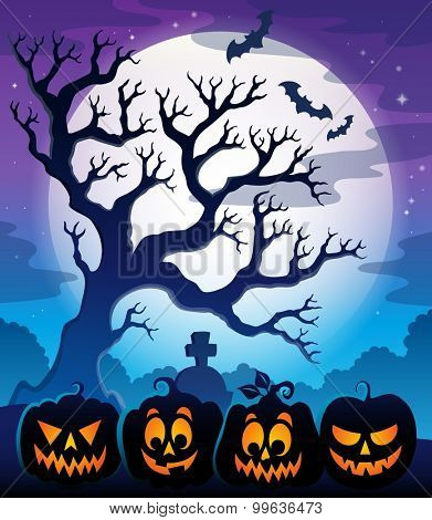 Pumpkin silhouettes theme image - eps10 vector illustration.