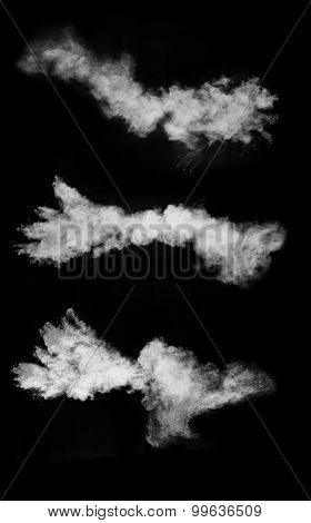 Set of isolated shots of white powder on black background