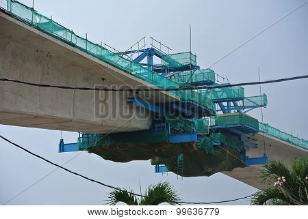 Overhead train viaduct under construction at the construction site