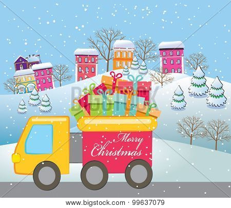 Vector illustration truck with Christmas presents.