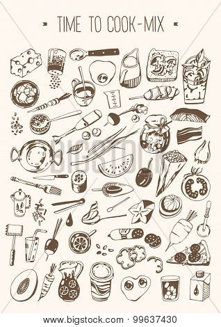 Hand drawn set - Time to cook - Mix
