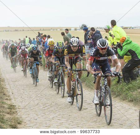 The Peloton On A Cobblestones Road - Tour De France 2015