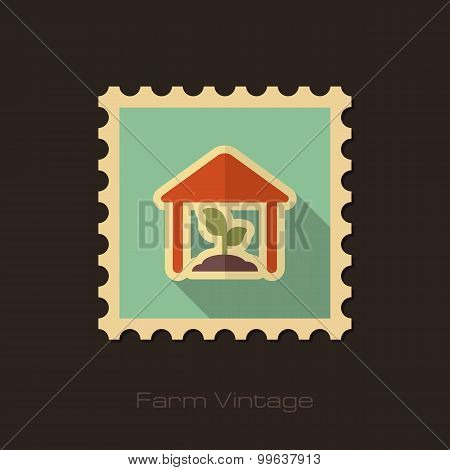 Greenhouse Retro Flat Stamp With Long Shadow