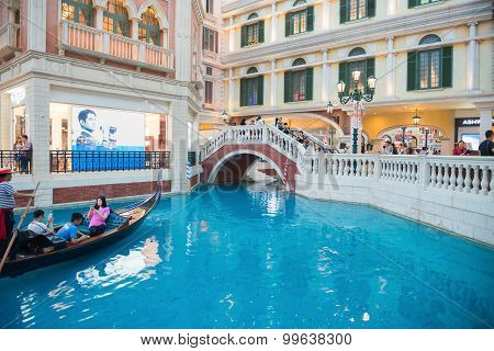 Macao, China - June 25, 2015:interiors View Of The Venetian Hotel, Macao On June 25, 2015. The Venet
