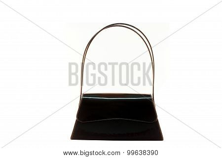 Black Glossy Glossy Female Leather Bag Isolated On White Background.