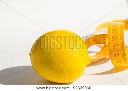 Lemon and measure tape, concept lose weight