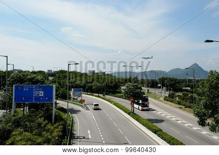 HONG KONG - JUNE 04, 2015: road near Hong Kong International Airport. Hong Kong International Airport is the main airport in Hong Kong. It is located on the island of Chek Lap Kok