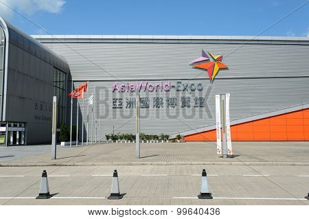 HONG KONG - JUNE 04, 2015: the AsiaWorld-Expo building.  The AsiaWorld Expo is one of the two major convention and exhibition facilities in Hong Kong