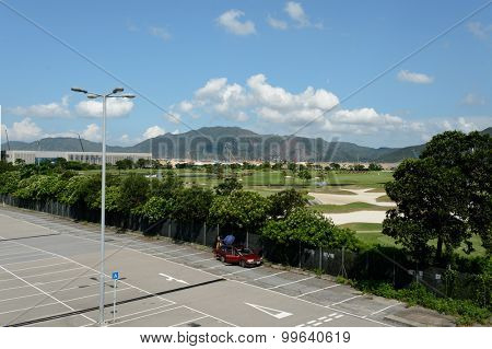 HONG KONG - JUNE 04, 2015: area near AsiaWorld-Expo. The AsiaWorldExpo is one of the two major convention and exhibition facilities in Hong Kong