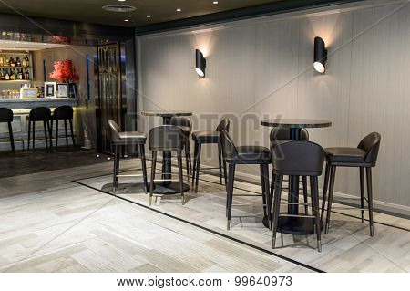 HONG KONG - JUNE 01, 2015: cafe interior. In Hong Kong a wide selection of clothing boutiques, designer flagship stores, restaurants, daily shows and exhibitions
