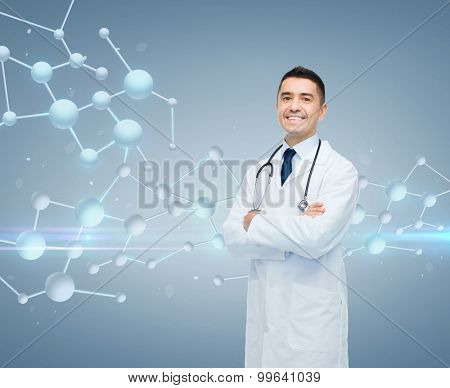 chemistry, biology, people and medicine concept - smiling male doctor in white coat over molecule formula on gray background