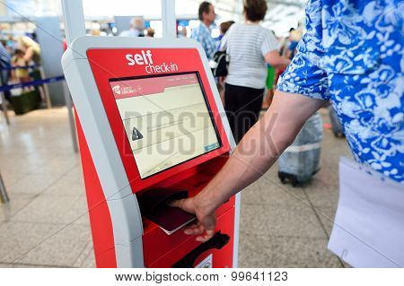 PRAGUE, CZECH REPUBLIC - AUGUST 04, 2015: self check-in kisosk in airport of Prague. International airport of Prague is major airport of Czech Republic