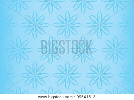 Soft Light Blue Floral Repeated Pattern Seamless Vector Background