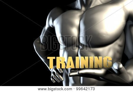 Training With a Business Man Holding Up as Concept