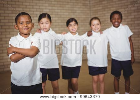 Students looking at the camera at the elementary school