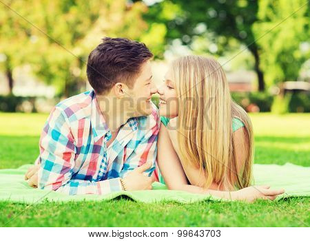 holidays, vacation, love and friendship concept - smiling couple lying on blanket and touching noses in park