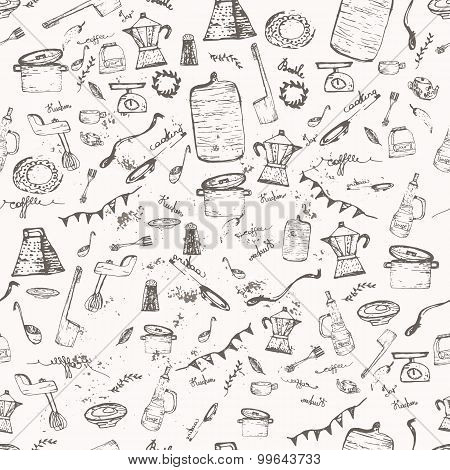 Vector seamless vintage pattern doodle kitchen and cooking supplies with jar, pan, blender. EPS10