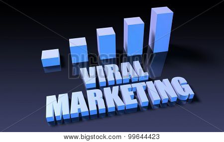 Viral marketing graph chart in 3d on blue and black