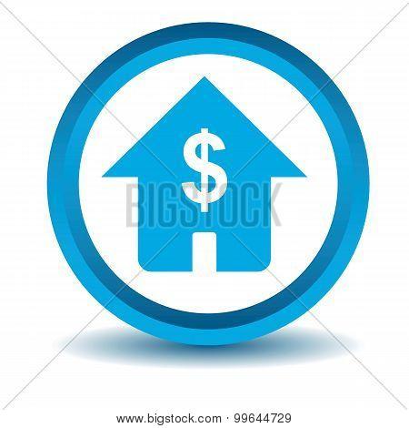 Dollar house icon, blue, 3D
