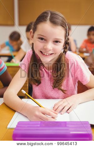 Little girl smiling at camera in class at the elementary school