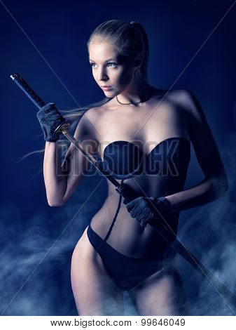 Sexy Blonde In Lingerie With A Japanese Sword