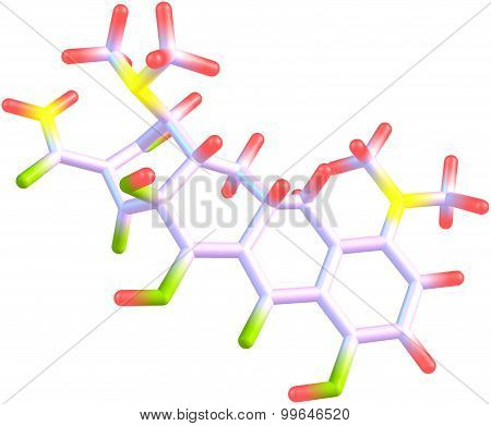 Minocycline molecule isolated on white