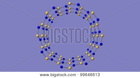 Boron nitride nanotube structure isolated on blue background. 3d illustration