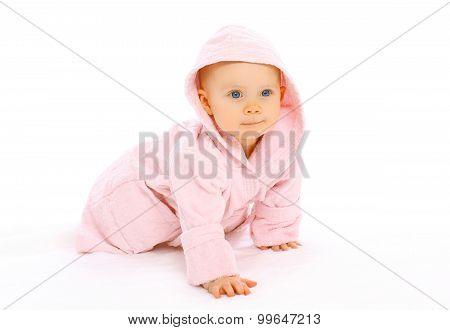 Portrait Of Cute Little Baby Crawls In The Pink Bathrobe