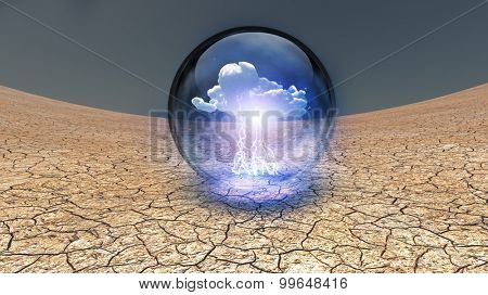 Dry Cracked earth with single cloud in clear container