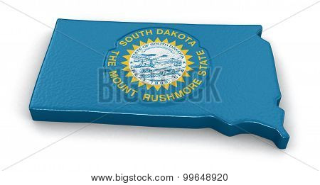 Map of South Dakota state with flag
