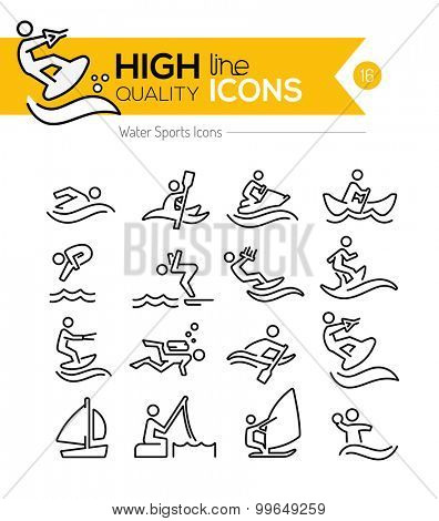 Water Sport Line Icons Series