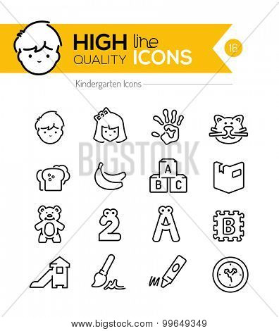Preschool Line Icons Series