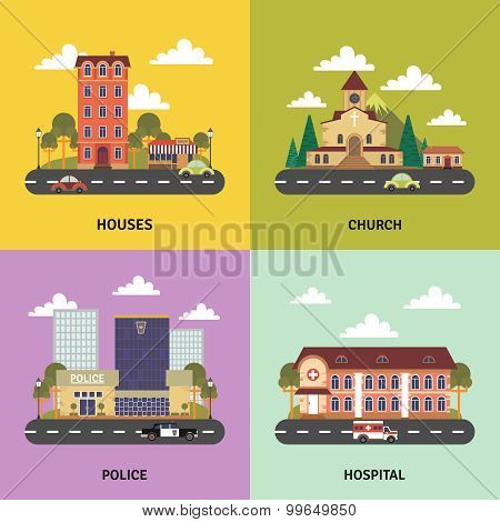 Urban landscape 4 flat icons banner