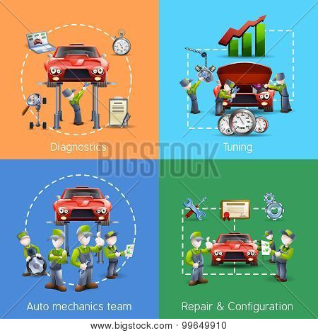 Auto mechanic 4 icons square banner