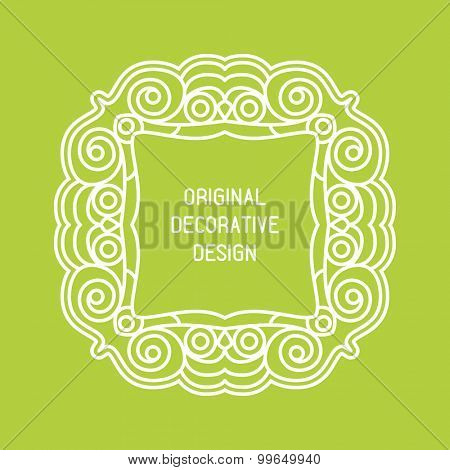 Vector frame with space for text in trendy mono line style - monogram design element