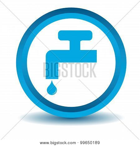 Water tap icon, blue, 3D