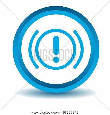 Alert sign icon, blue, 3D